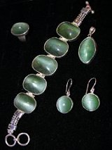 Sterling Siver Cat's Eye Jade Jewelry